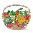 Basket with fresh vegetables — Stock Vector