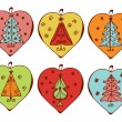 Christmas decorations with trees — Vector de stock
