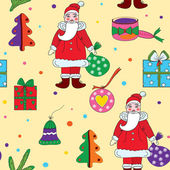 Seamless christmas pattern with santa klaus — Stock Vector