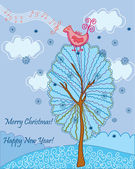 Christmas card with bird song — Stockvector