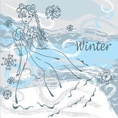 Winter fashion card with girl — Stock Vector