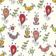 Graphic seamless pattern with birds — Stock vektor #4473619