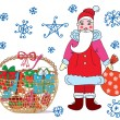 Royalty-Free Stock Векторное изображение: Christmas card with santa