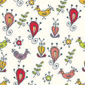 Graphic seamless pattern with birds — Vettoriale Stock