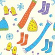 Seamless winter pattern with hats, socks, — Stock Vector