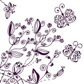 Floral background with butterfly — Stock Vector