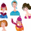 Women icon funny  set — Stock Vector