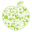 Environmental green apple — Stock Vector