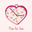 Valentine greeting card with  clock — Stock Vector