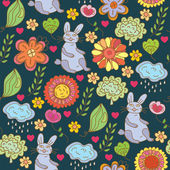 Easter funny pattern with hare — Stock Vector