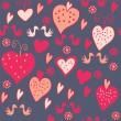 Stock Vector: Funny valentine seamless pattern with hearts