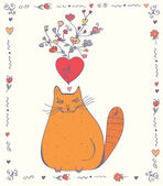 Love card with cat — Stock Vector