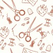Sewing seamless doodle pattern - Stock Vector