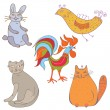 Set of funny cartoon animals - Stock Vector