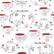 Seamless pattern with tea pots — Stock Vector