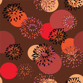 Seamless floral background with circles — Stock Vector
