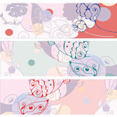 Floral banners abstract set — ストックベクタ