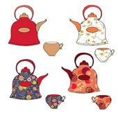 Tea set di pentole e tazze — Vettoriale Stock