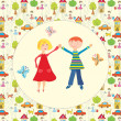 Royalty-Free Stock Imagen vectorial: Happy boy and girl together