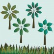 Set of trees and grass — Stock Vector