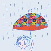 Cute child with umbrella — Stock Vector