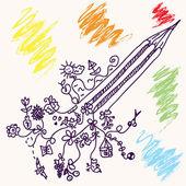 面白い鉛筆概念落書き — ストックベクタ