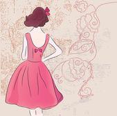 Retro fashion model in dress — Stock Vector