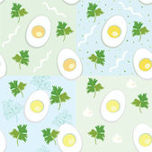 Seamless wallpaper set with eggs — Stock Vector