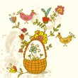 Basket with flowers and birds — Stock Vector #5217647