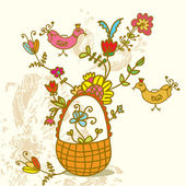 Basket with flowers and birds — Stock Vector