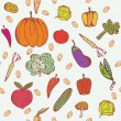 图库矢量图片: Vegetables doodle seamless pattern