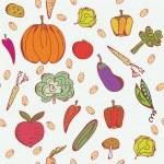 野菜落書きのシームレスなパターン — ストックベクタ