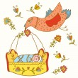 Fairytale bird brings baby — Stock Vector