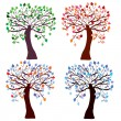 Stock Vector: Four season trees set