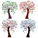 Four season trees set — Stock Vector