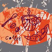 Cartão de grunge com xícara de café — Vetorial Stock