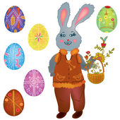 复活节与野兔和鸡蛋的集合 — 图库矢量图片