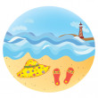 Sea vacation round icon — Stock Vector