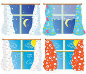 Windows set with pattern curtains — Stock Vector