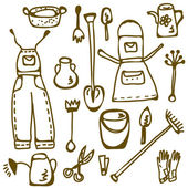 Garden tools set doodle — Stock Vector