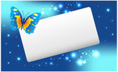 Abstract banner with butterfly and stars. — Cтоковый вектор
