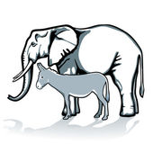 Elephant and donkey, republican and democrat — Stock Vector