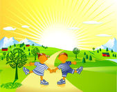 Frolicking children — Stock Vector