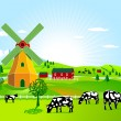 Stock Vector: Wind mill and agriculture