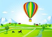 Hot-air balloon ride — Stock Vector