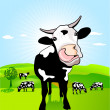 Cow with loose tongue — Stock Vector