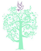 Dove with tree — Stock Vector
