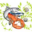Stock Vector: Seafood cooking