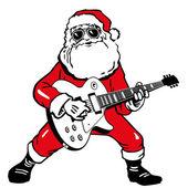 Santa Claus with electric guitar — Stock Vector