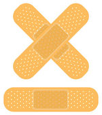 Band-aid on white, apply a plaster — Stock Vector